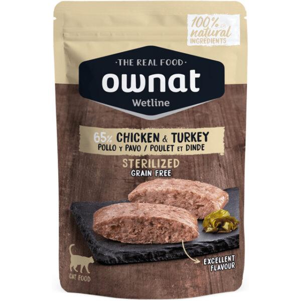 OWNAT WETLINE STERILIZED CHICKEN & TURKEY (CAT) 85G