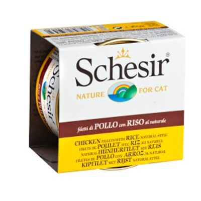 SCHESIR CAT POLLO CON ARROZ AL NATURAL 85GR.