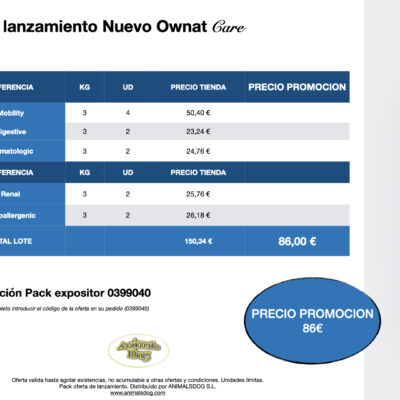 PROMOCION PACK EXPOSITOR OWNAT CARE 3KG